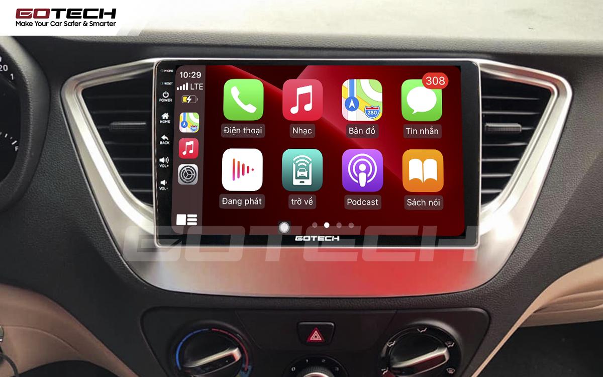 Kết nối Apple Carplay thông minh trên màn hình ô tô thông minh GOTECH cho xe Hyundai Accent 2018-2020