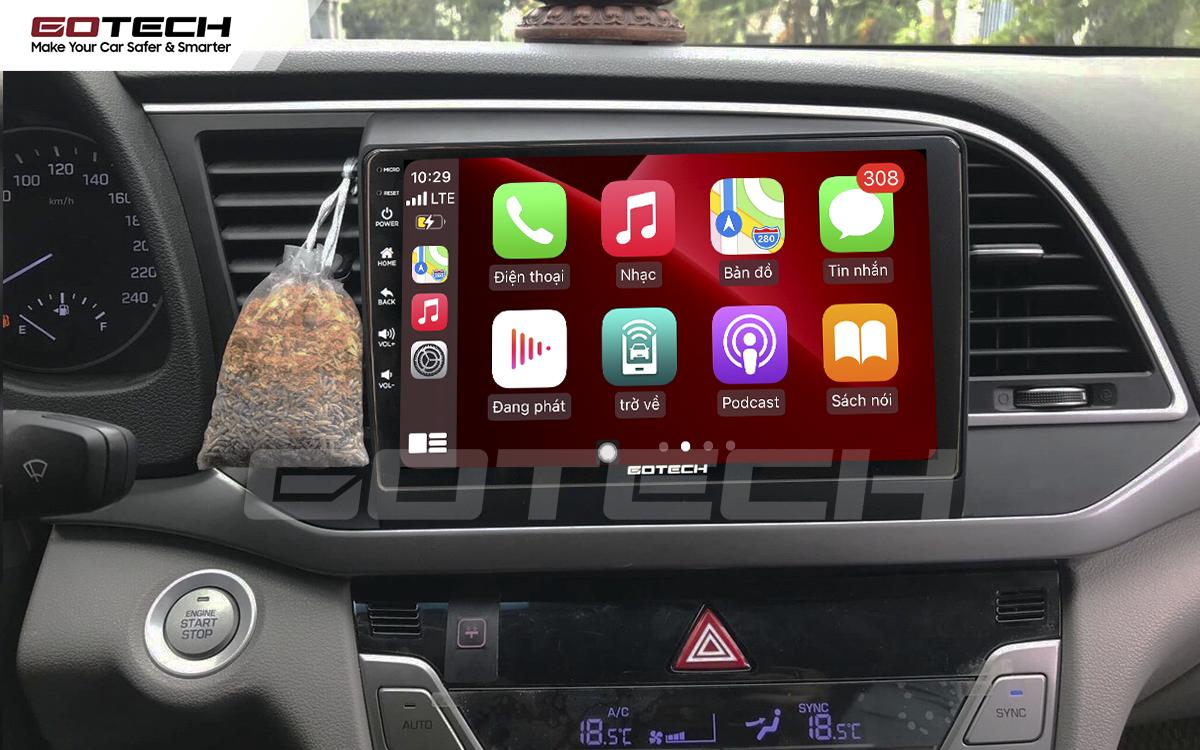 Kết nối Apple Carplay thông minh trên màn hình ô tô thông minh GOTECH cho xe Hyundai Elantra 2016-2018