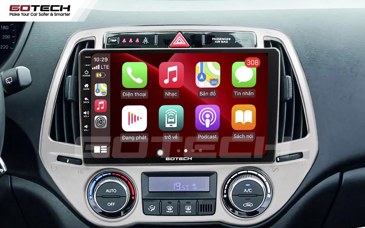 Kết nối Apple Carplay thông minh trên màn hình ô tô thông minh GOTECH cho xe Hyundai i20 2013-2014
