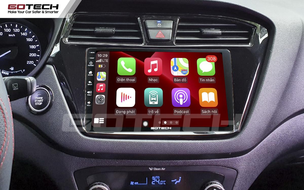 Kết nối Apple Carplay thông minh trên màn hình ô tô thông minh GOTECH cho xe Hyundai i20 Active 2015-2018