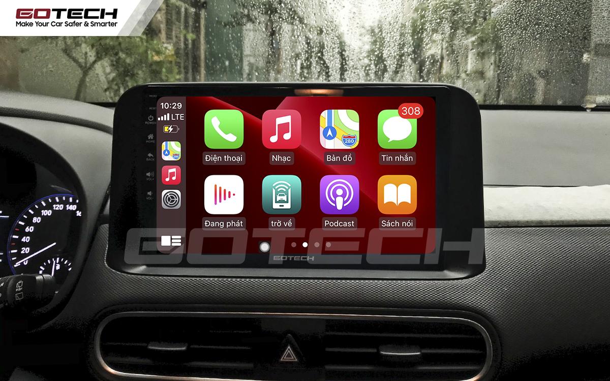 Kết nối Apple Carplay thông minh trên màn hình ô tô thông minh GOTECH cho xe Hyundai Kona 2018-2020