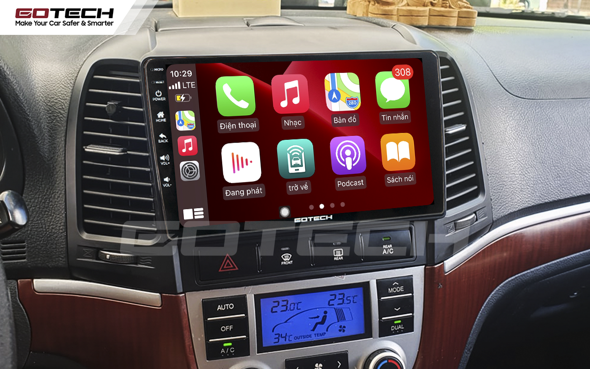 Kết nối Apple Carplay thông minh trên màn hình ô tô thông minh GOTECH cho xe Hyundai Santafe 2006-2012