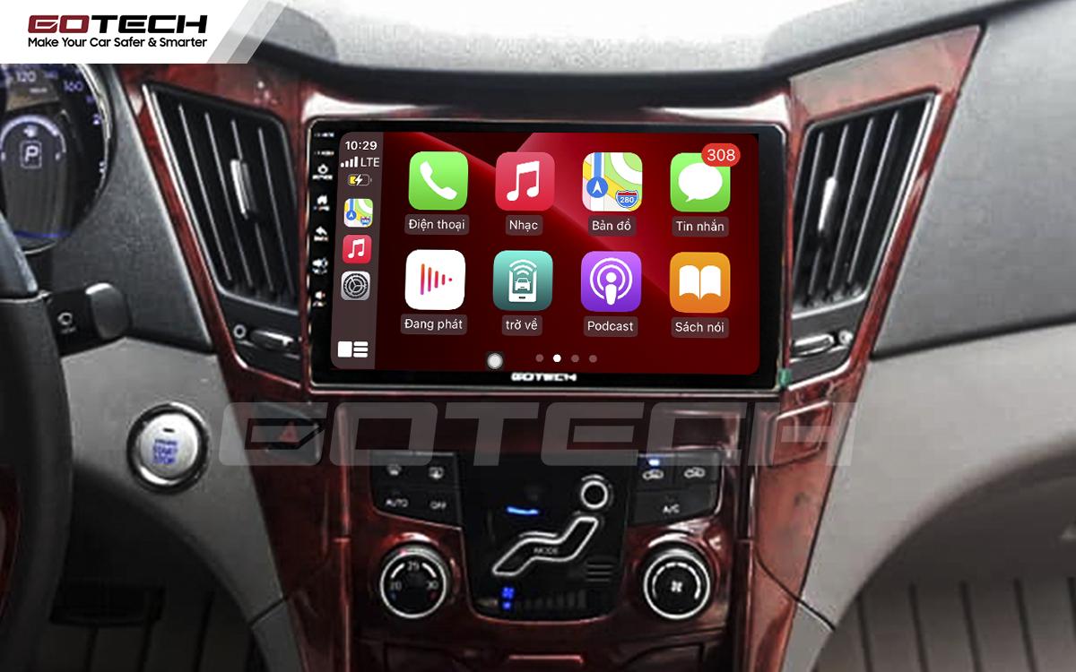 Kết nối Apple Carplay thông minh trên màn hình ô tô thông minh GOTECH cho xe Hyundai Sonata 2010-2013