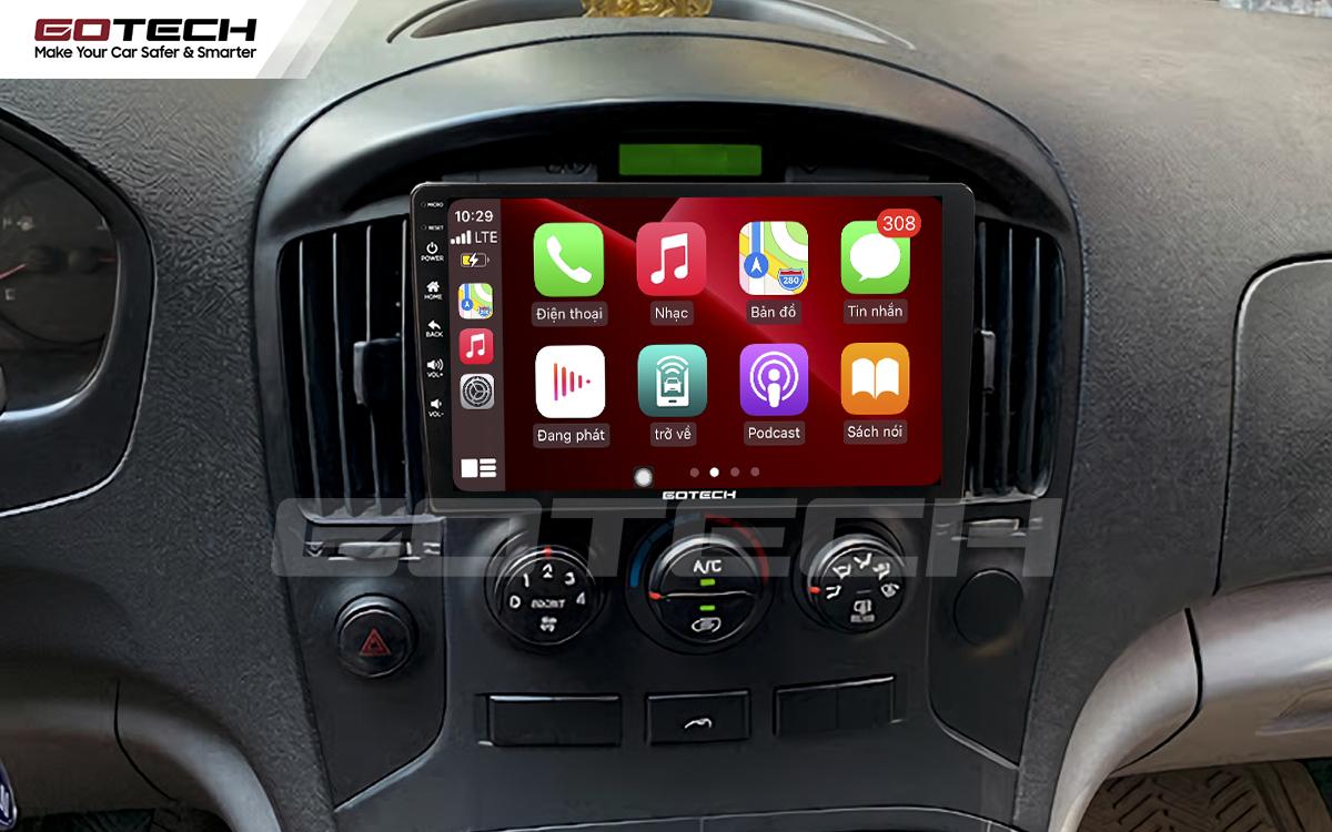 Kết nối Apple Carplay thông minh trên màn hình ô tô thông minh GOTECH cho xe Starex 2016-2019