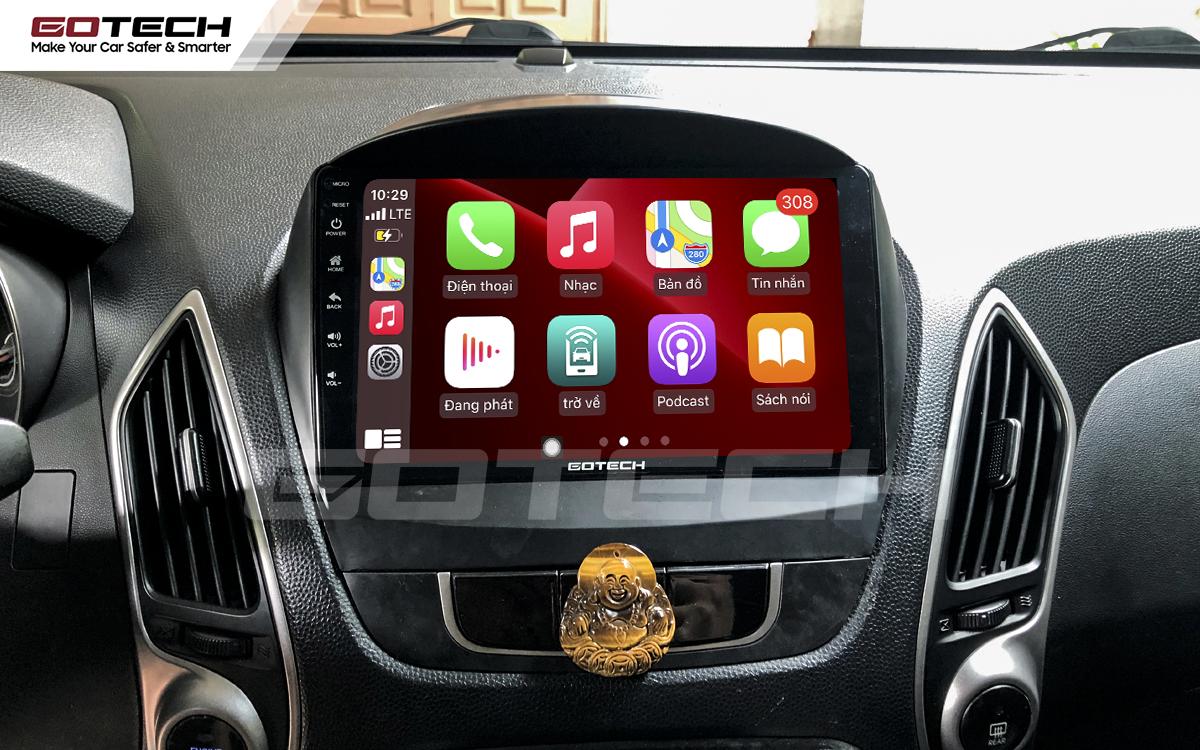 Kết nối Apple Carplay thông minh trên màn hình ô tô thông minh GOTECH cho xe Hyundai Tucson 2010-2014