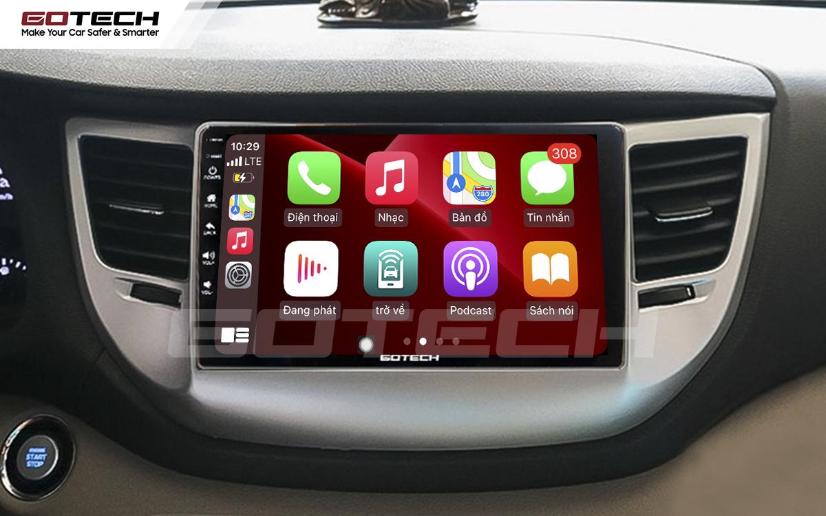 Kết nối Apple Carplay thông minh trên màn hình ô tô thông minh GOTECH cho xe Hyundai Tucson 2016-2018