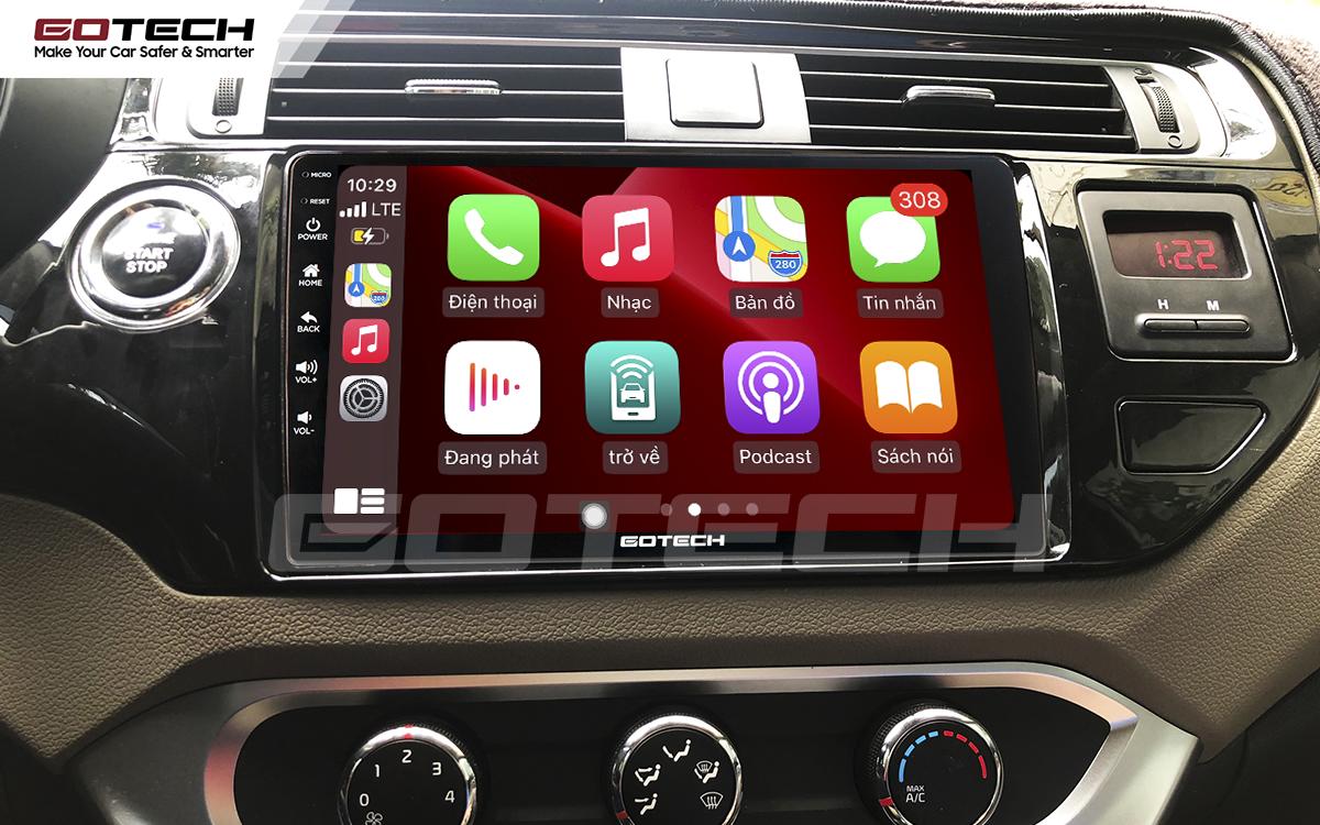 Kết nối Apple Carplay thông minh trên màn hình ô tô thông minh GOTECH cho xe Kia Rio 2016-2018
