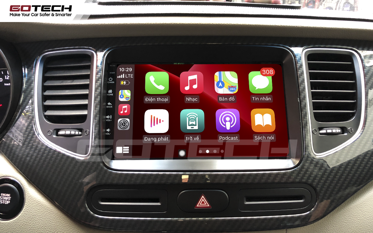 Kết nối Apple Carplay thông minh trên màn hình ô tô thông minh GOTECH cho xe Kia Rondo 2014-2020