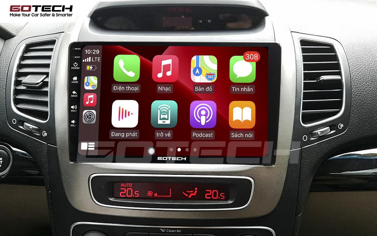Kết nối Apple Carplay thông minh trên màn hình ô tô thông minh GOTECH cho xe Kia Sorento 2014-2020