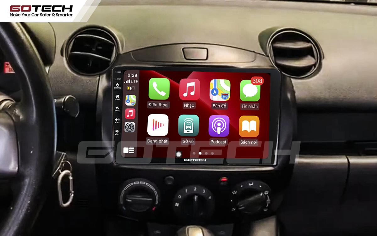 Kết nối Apple Carplay thông minh trên màn hình ô tô thông minh GOTECH cho xe Mazda 2 2012-2013