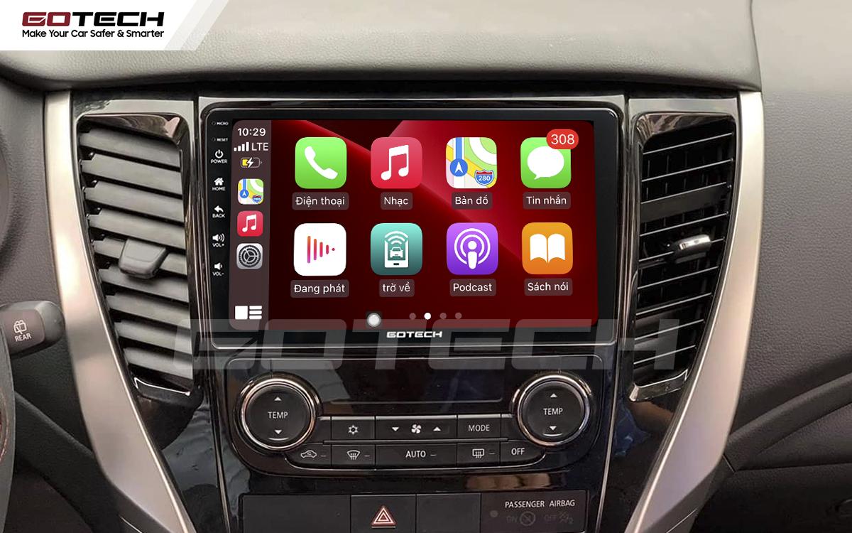 Kết nối Apple Carplay thông minh trên màn hình ô tô thông minh GOTECH cho xe Mitsubishi Pajero Sport 2018-2019