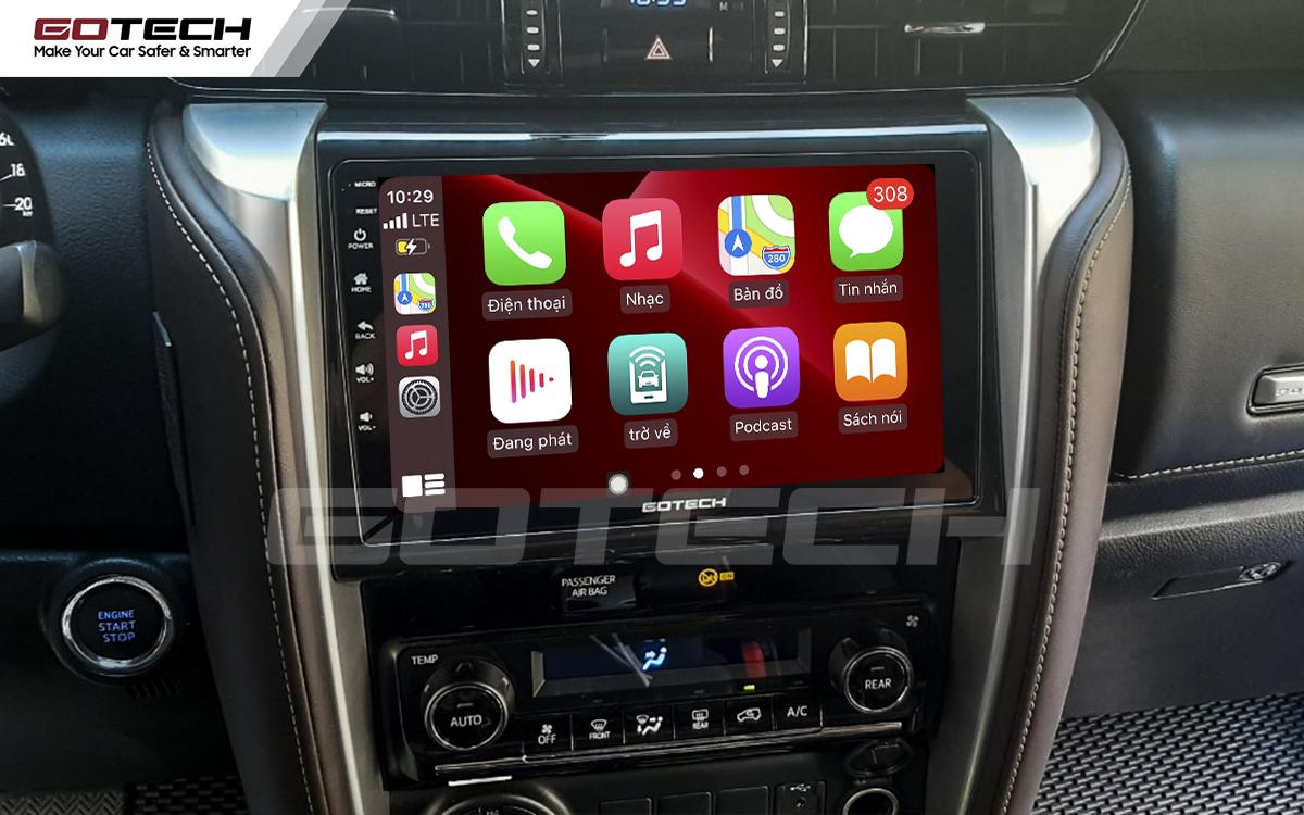 Kết nối Apple Carplay thông minh trên màn hình ô tô thông minh GOTECH cho xe Toyota Fortuner 2017-2020