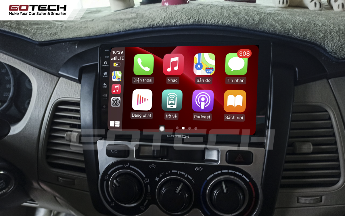 Kết nối Apple Carplay thông minh trên màn hình ô tô thông minh GOTECH cho xe Toyota Innova 2012-2016