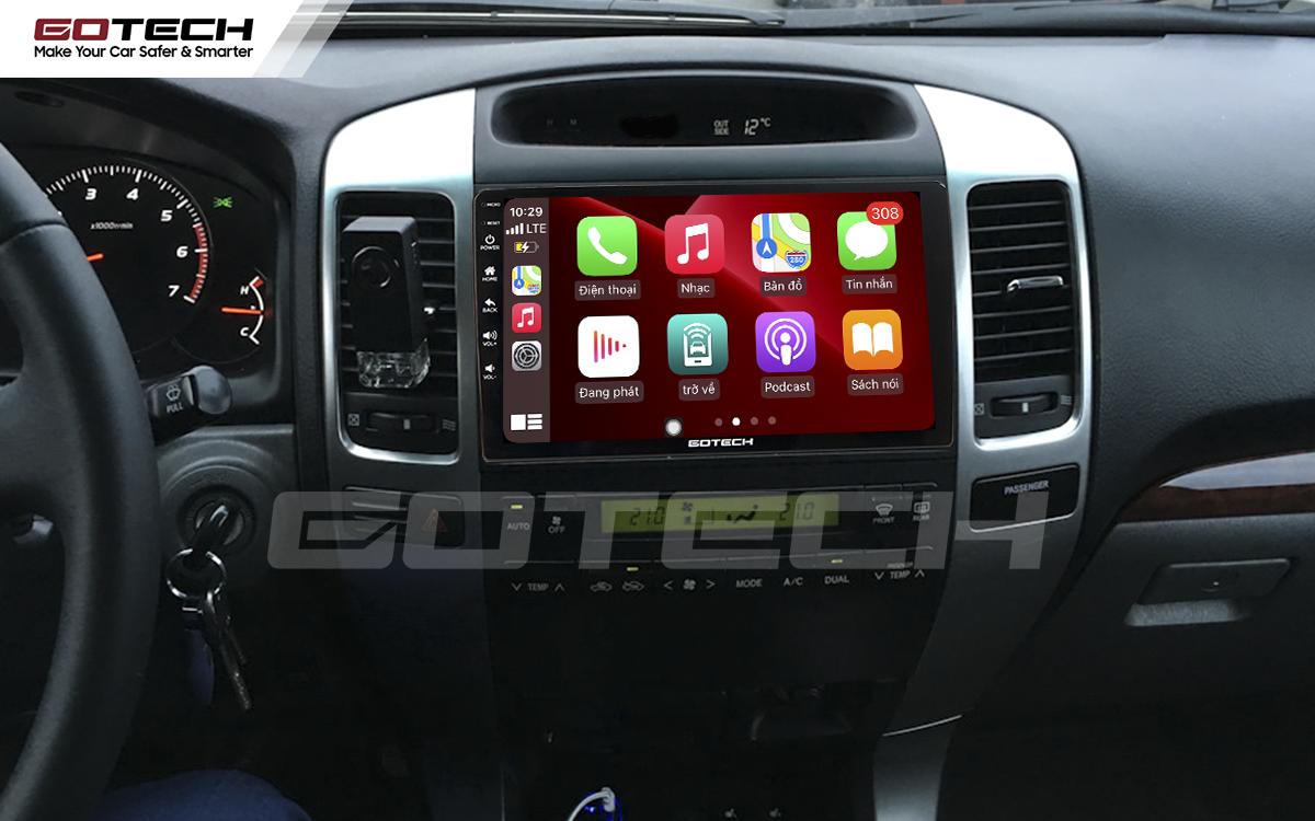 Kết nối Apple Carplay thông minh trên màn hình ô tô thông minh GOTECH cho xe Toyota Land Cruiser 2003-2007