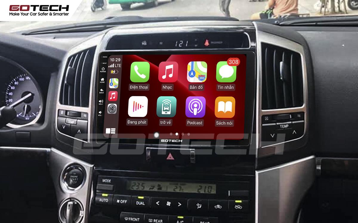 Kết nối Apple Carplay thông minh trên màn hình ô tô thông minh GOTECH cho xe Toyota Land Cruiser 2008-2015