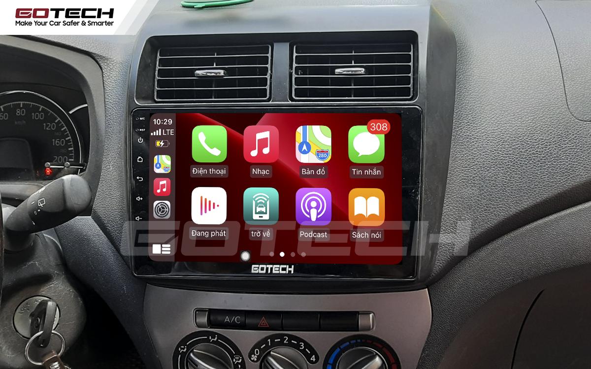Kết nối Apple Carplay thông minh trên màn hình ô tô thông minh GOTECH cho xe Toyota Wigo 2018-2020