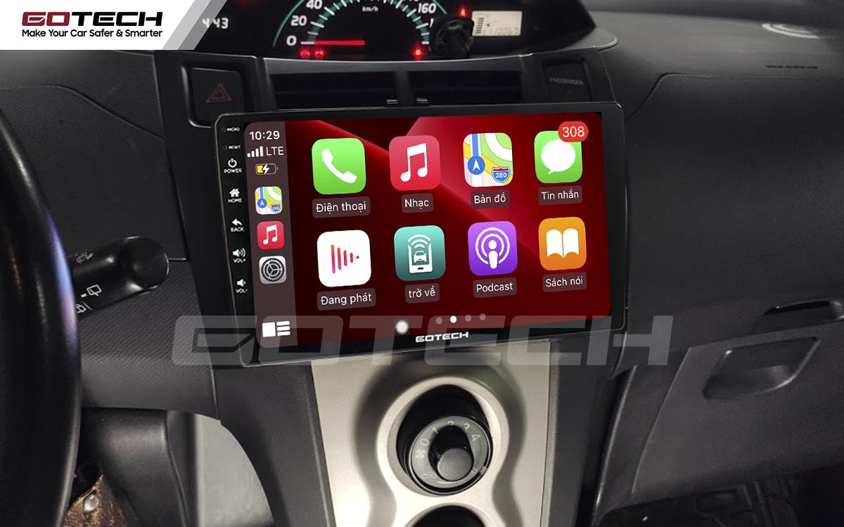Kết nối Apple Carplay thông minh trên màn hình ô tô thông minh GOTECH cho xe Toyota Yaris Hatchback 2005-2013