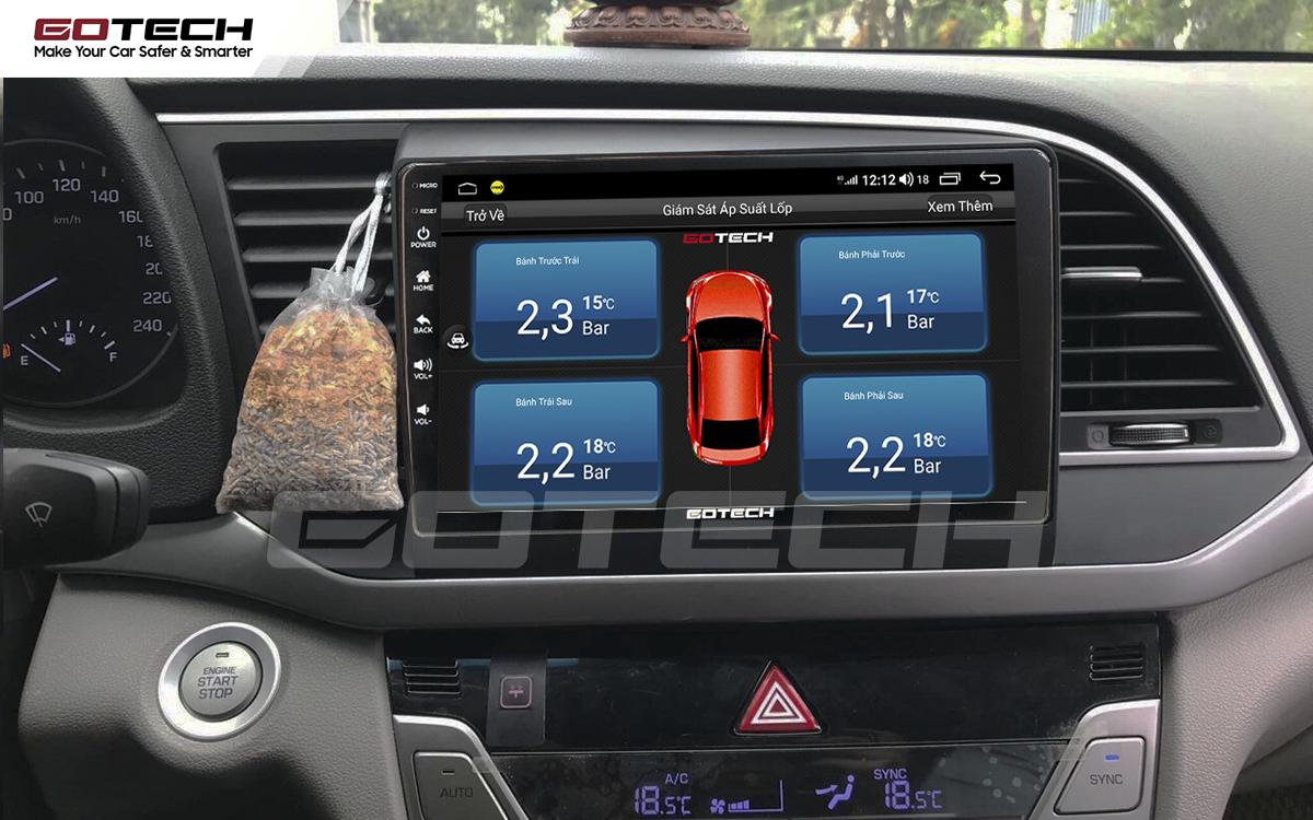 Kết nối cảm biến áp suất lốp trên màn hình ô tô thông minh GOTECH cho xe Hyundai Elantra 2016-2018