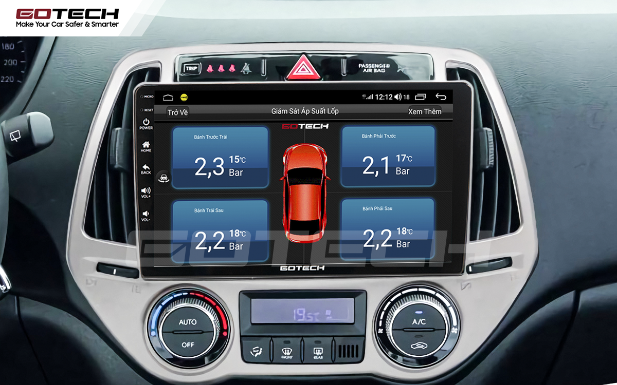 Kết nối cảm biến áp suất lốp trên màn hình ô tô thông minh GOTECH cho xe Hyundai i20 2013-2014