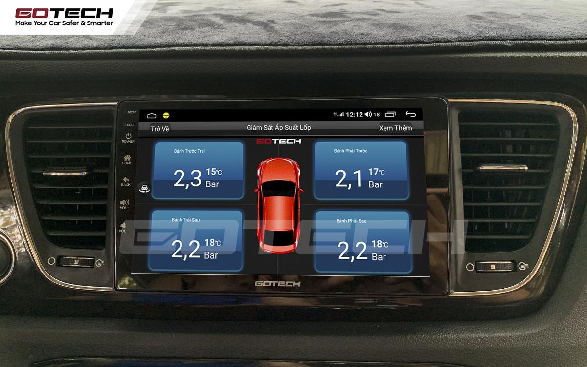 Kết nối cảm biến áp suất lốp trên màn hình ô tô thông minh GOTECH cho xe Kia Sedona 2015-2020