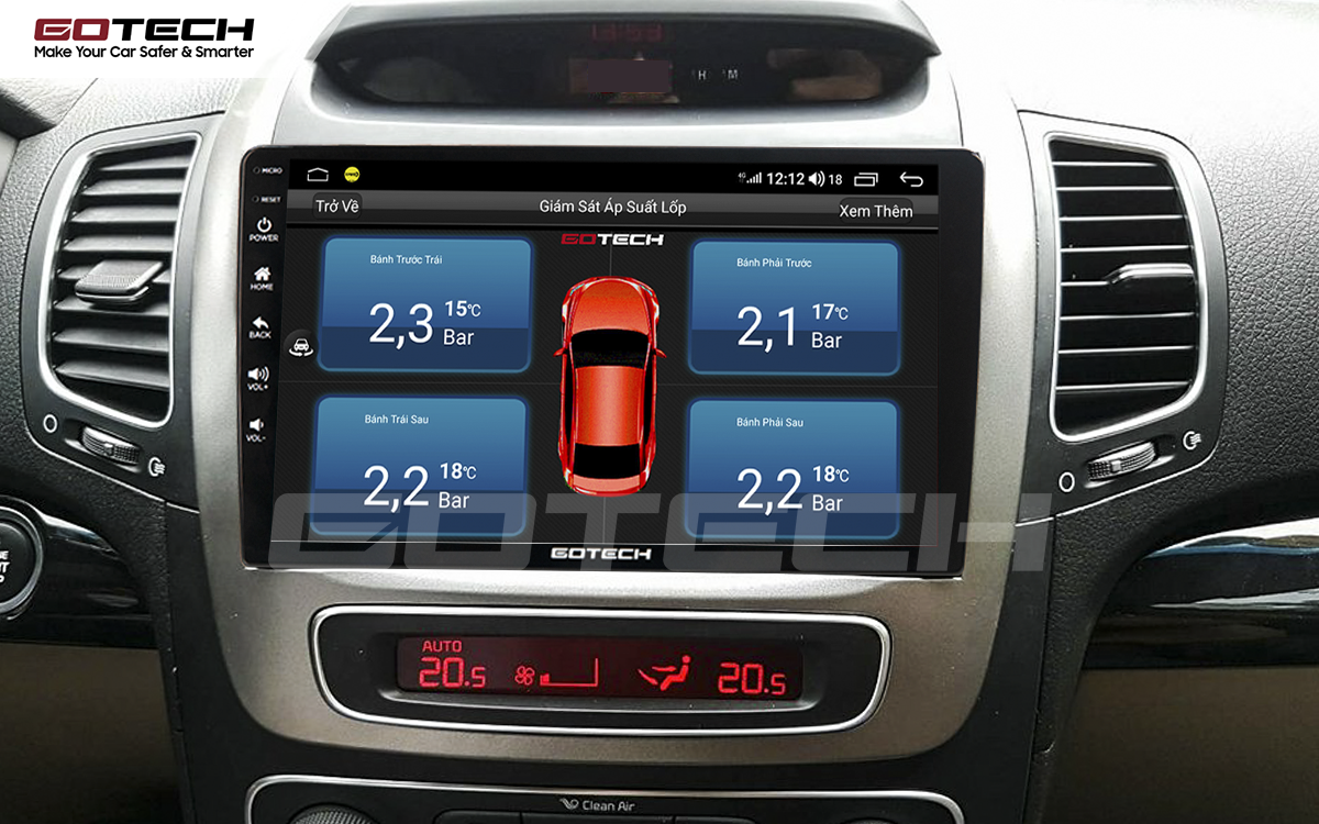 Kết nối cảm biến áp suất lốp trên màn hình ô tô thông minh GOTECH cho xe Kia Sorento 2014-2020