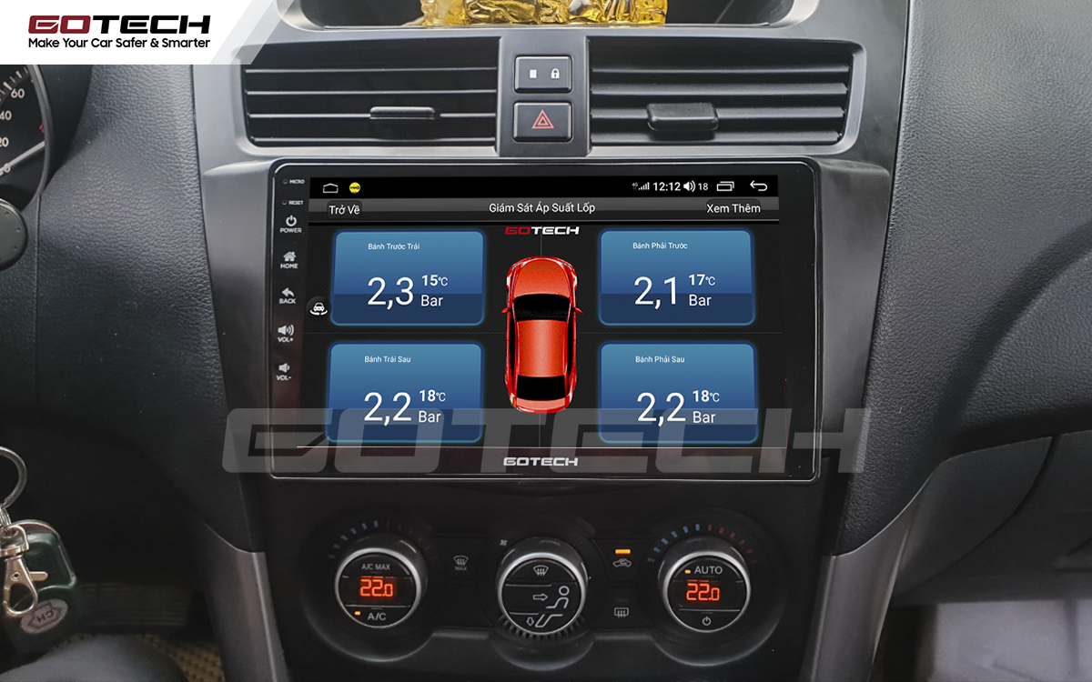 Kết nối cảm biến áp suất lốp trên màn hình ô tô thông minh GOTECH cho xe Mazda BT50 2012-2018