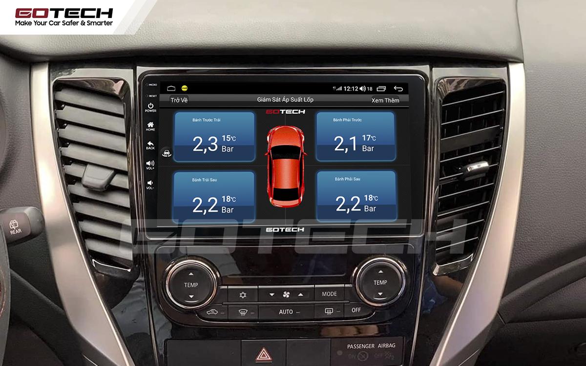Kết nối cảm biến áp suất lốp trên màn hình ô tô thông minh GOTECH cho xe Mitsubishi Pajero Sport 2018-2019