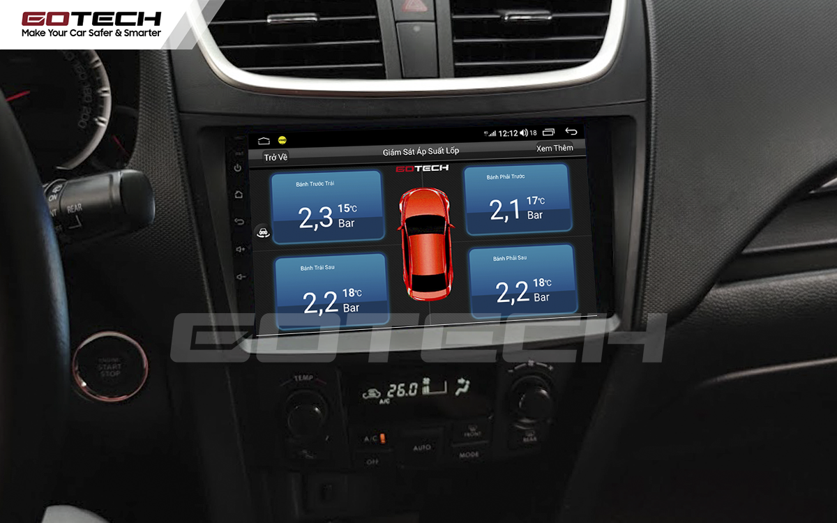 Kết nối cảm biến áp suất lốp trên màn hình ô tô thông minh GOTECH cho xe Suzuki Swift 2013-2017
