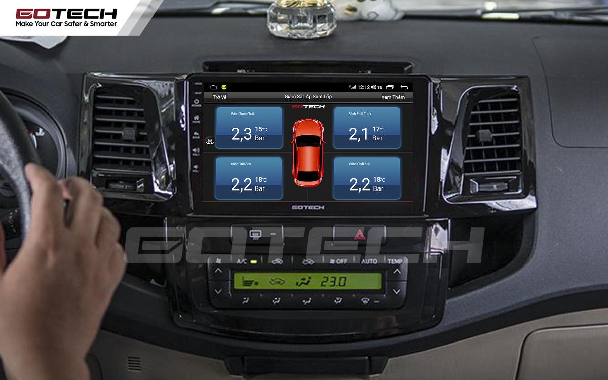 Kết nối cảm biến áp suất lốp trên màn hình ô tô thông minh GOTECH cho xe Toyota Fortuner 2006-2016