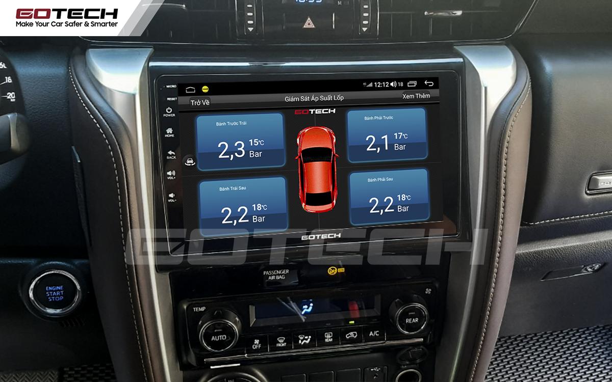 Kết nối cảm biến áp suất lốp trên màn hình ô tô thông minh GOTECH cho xe Toyota Fortuner 2017-2020