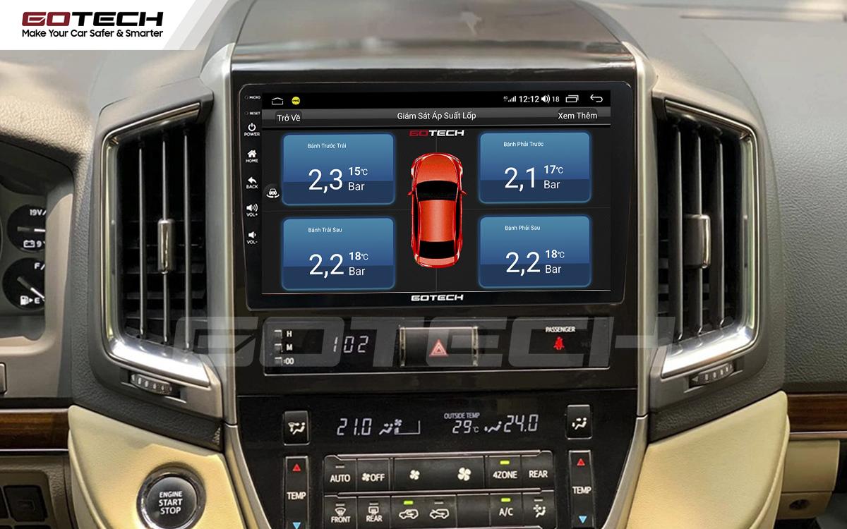 Kết nối cảm biến áp suất lốp trên màn hình ô tô thông minh GOTECH cho xe Toyota Land Cruiser 2016-2019