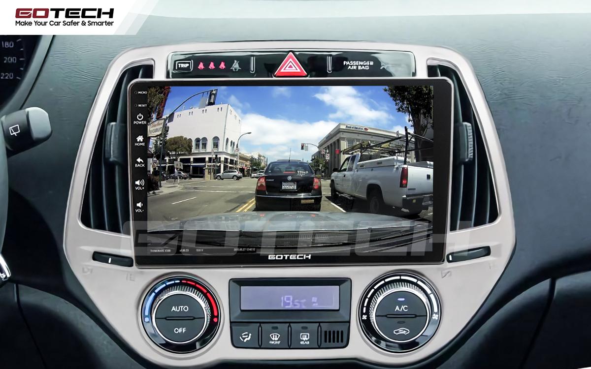 Kết nối với camera hành trình trên màn hình android GOTECH cho xe Hyundai i20 2013-2014