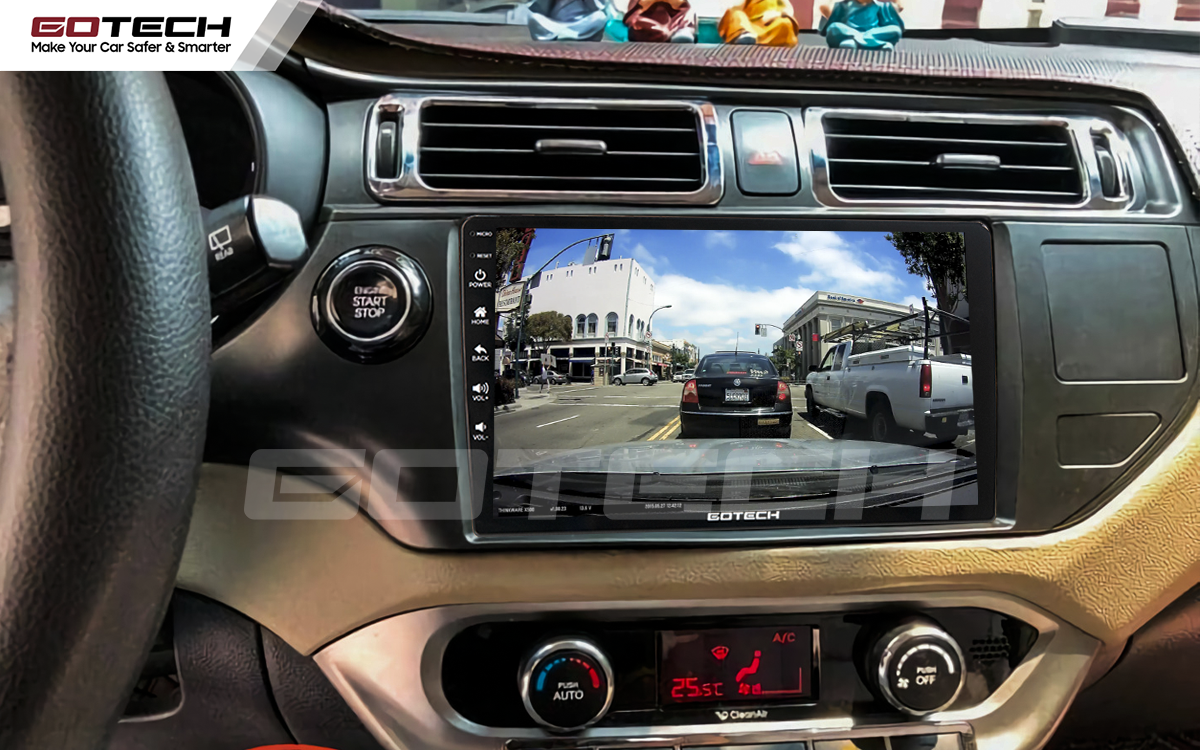 Kết nối với camera hành trình trên màn hình android GOTECH cho xe Kia Rio 2012-2014