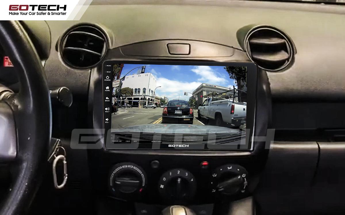 Kết nối với camera hành trình trên màn hình android GOTECH cho xe Mazda 2 2012-2013