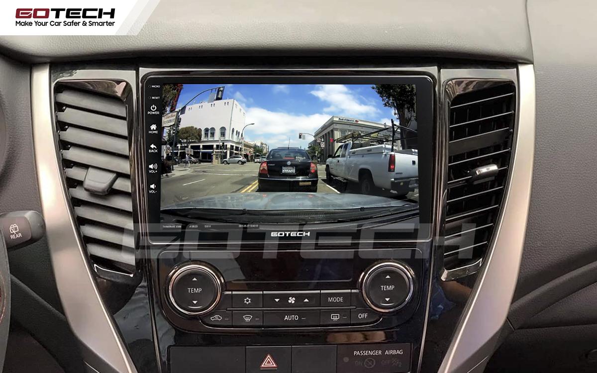 Kết nối với camera hành trình trên màn hình android GOTECH cho xe Mitsubishi Pajero Sport 2018-2019