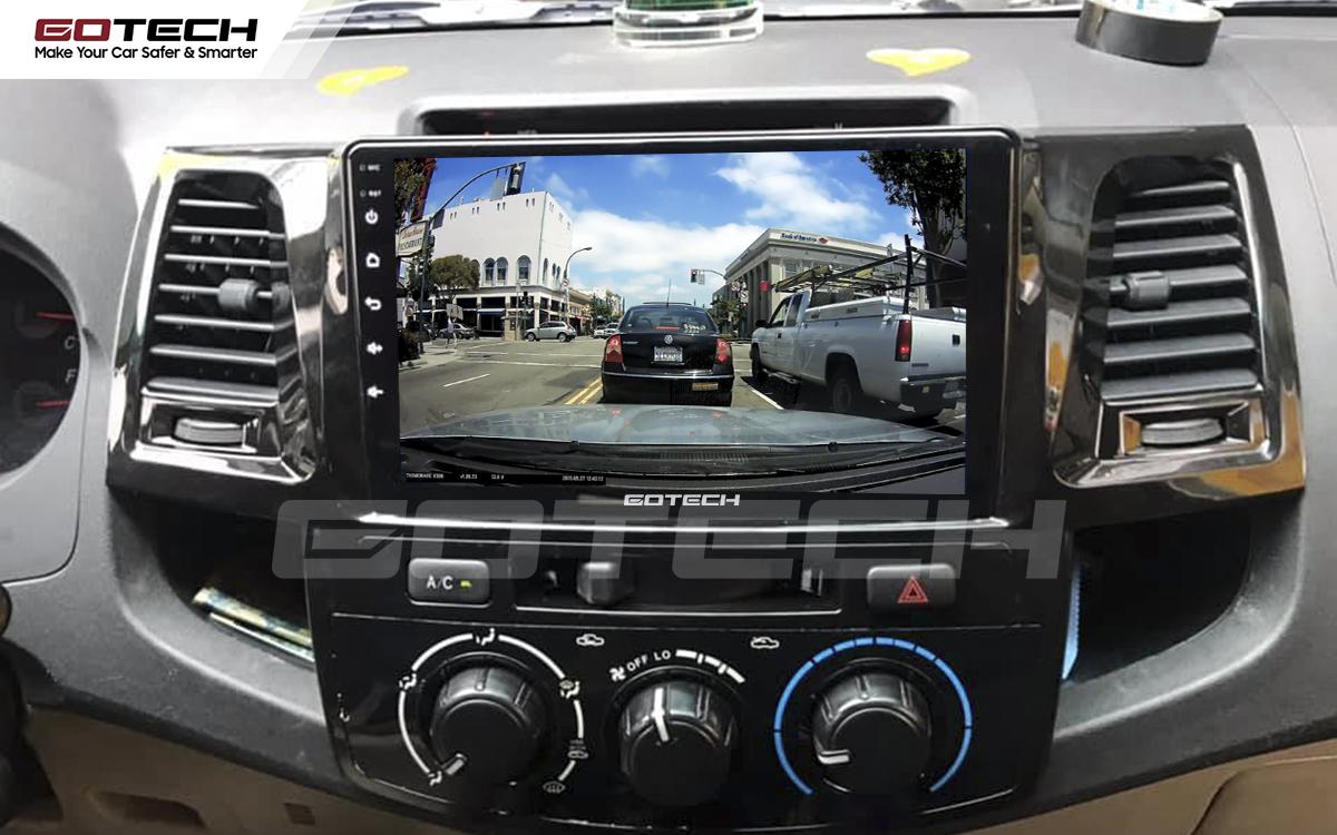 Kết nối với camera hành trình trên màn hình android GOTECH cho xe Toyota Fortuner 2006-2016