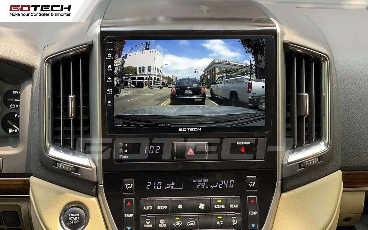 Kết nối với camera hành trình trên màn hình android GOTECH cho xe Toyota Land Cruiser 2016-2019