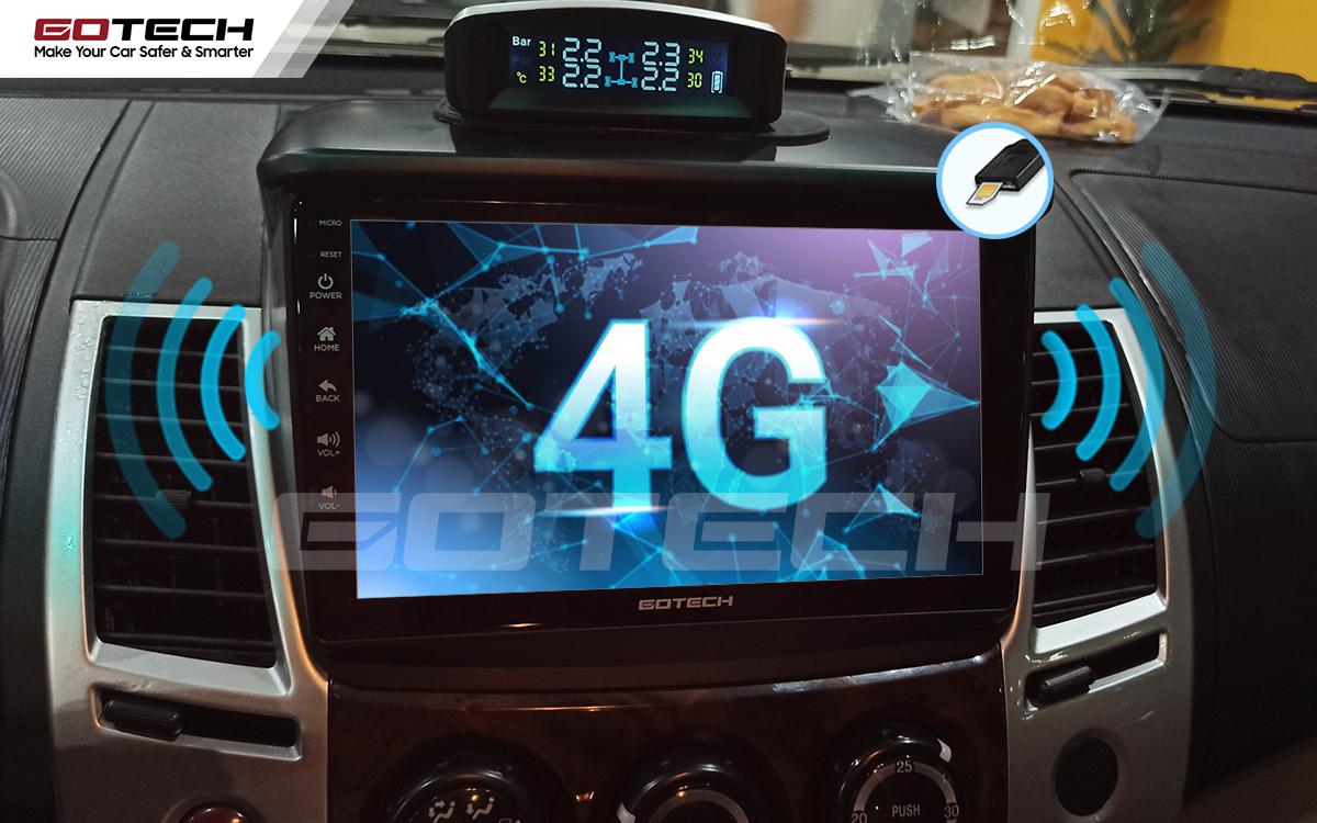 Màn hình Android Gotech cho xe Mitsubishi Pajero Sport sử dụng sim 4G tốc độ cao.