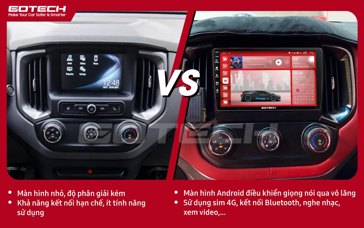So sánh trước và sau khi lắp đặt màn hình ô tô GOTECH cho xe Chevrolet Colorado 2017-2020