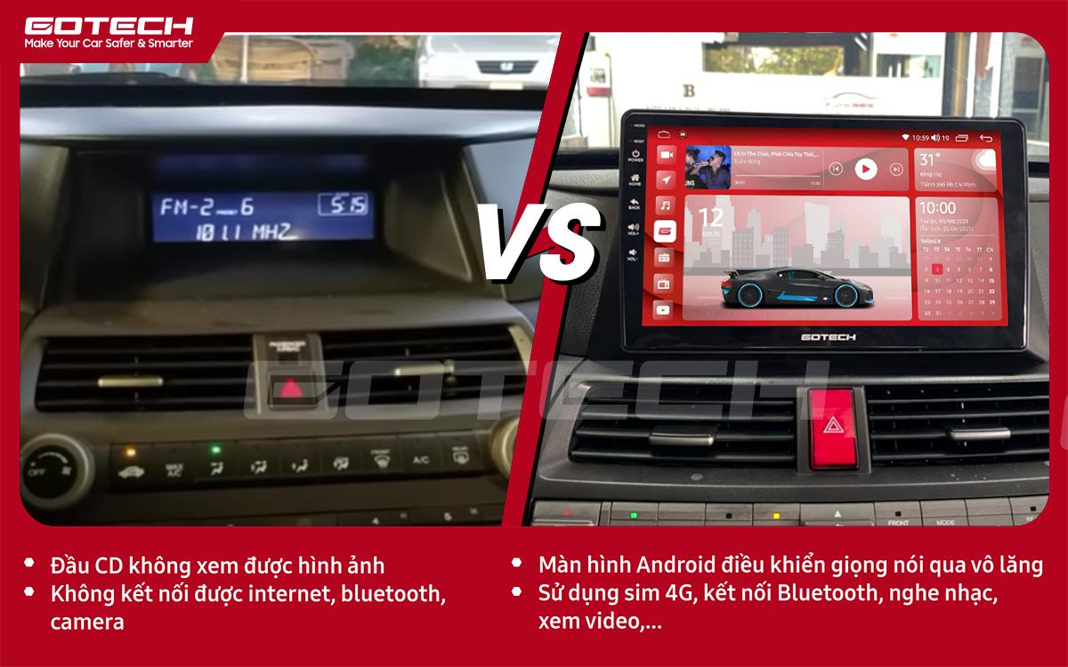 So sánh trước và sau khi lắp đặt màn hình ô tô GOTECH cho xe Honda Accord 2007-2013