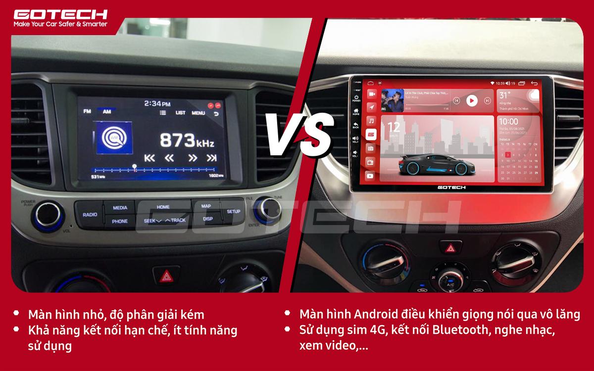So sánh trước và sau khi lắp đặt màn hình ô tô GOTECH cho xe Hyundai Accent 2018-2020