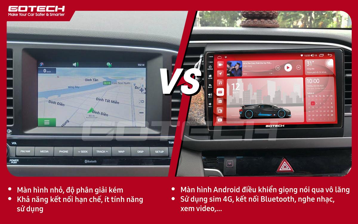 So sánh trước và sau khi lắp đặt màn hình ô tô GOTECH cho xe Hyundai Elantra 2016-2018