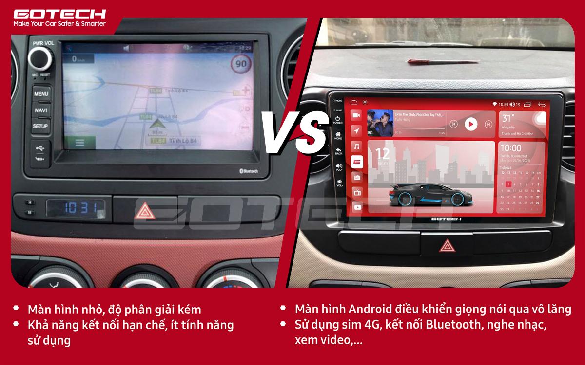 So sánh trước và sau khi lắp đặt màn hình ô tô GOTECH cho xe Hyundai i10 2014-2019