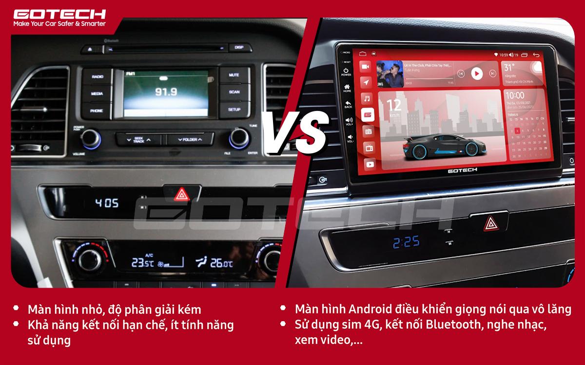 So sánh trước và sau khi lắp đặt màn hình ô tô GOTECH cho xe Hyundai Sonata 2015-2018