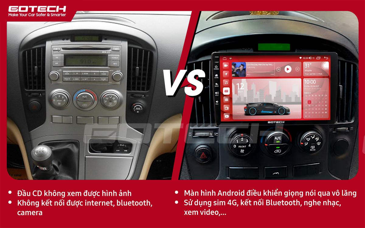 So sánh trước và sau khi lắp đặt màn hình ô tô GOTECH cho xe Hyundai Starex 2016-2019