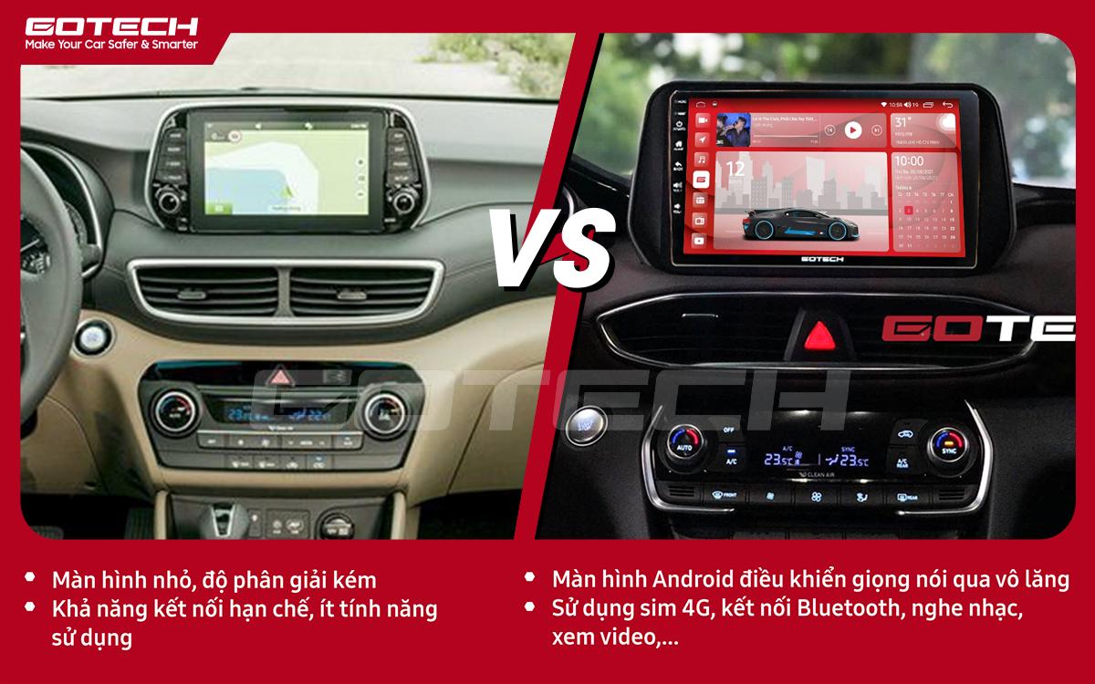 So sánh trước và sau khi lắp đặt màn hình ô tô GOTECH cho xe Hyundai Tucson 2019-2020