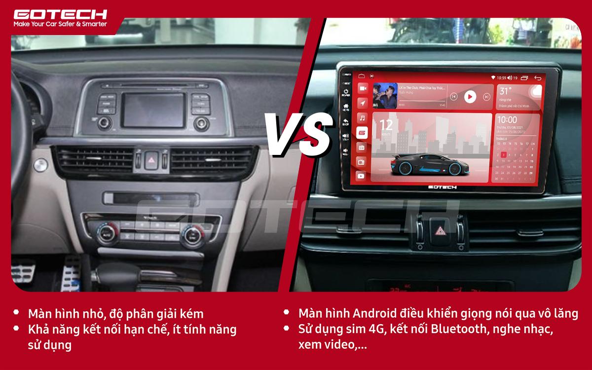 So sánh trước và sau khi lắp đặt màn hình ô tô GOTECH cho xe Kia K5 Optima 2017-2020