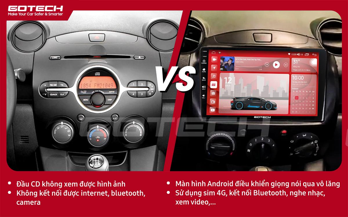 So sánh trước và sau khi lắp đặt màn hình ô tô GOTECH cho xe Mazda 2 2012-2013