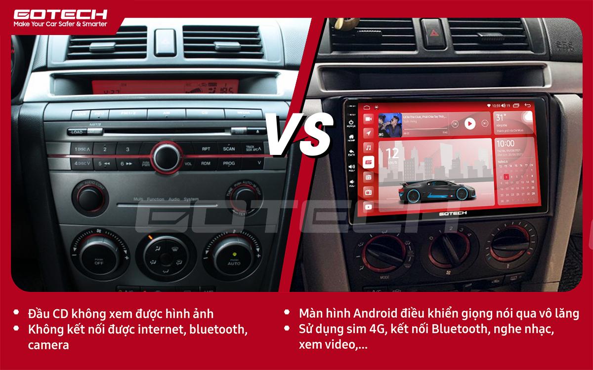 So sánh trước và sau khi lắp đặt màn hình ô tô GOTECH cho xe Mazda 3 2004-2009