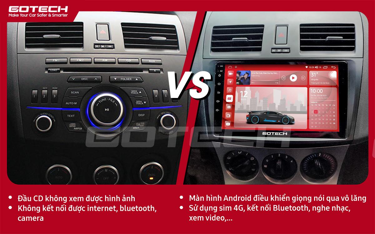 So sánh trước và sau khi lắp đặt màn hình ô tô GOTECH cho xe Mazda 3 2010-2013